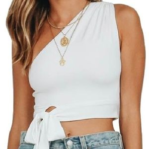 Tops - One Shoulder Sleeveless Knot Top